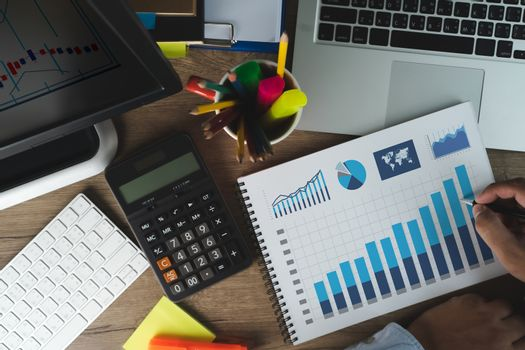 man work performance marketing Intelligence (BI) and business analytics Analysis Growth Progress