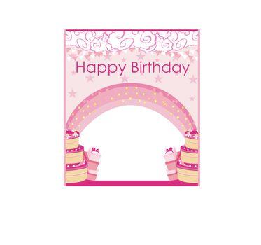 Happy Birthday Card, girlish invitation