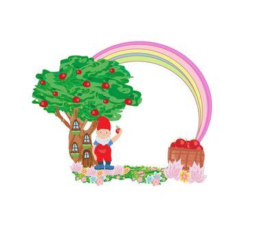 Fantasy tree house and cute dwarf - fairy frame