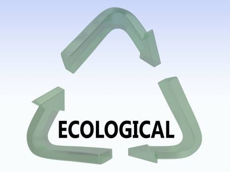 3D illustration of ECOLOGICAL title in a recycling symbol, isolated over blue gradient.