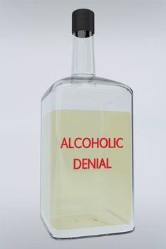 3D illustration of ALCOHOLIC DENIAL title on liquor bottle, isolated over gray gradient.