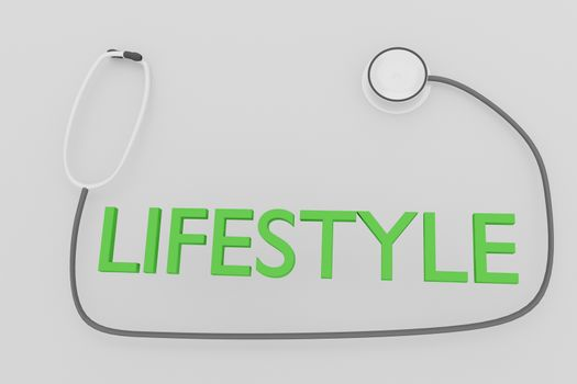 3D illustration of LIFESTYLE script with stethoscope, isolated over pale gray background.