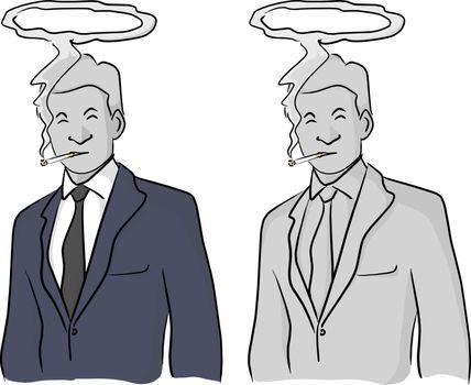dead businessman smoking with halo on his head vector illustrati