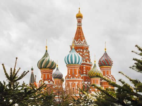 St. Basil's Cathedral on Red square. Traditional Christmas fair. Moscow, Russia.
