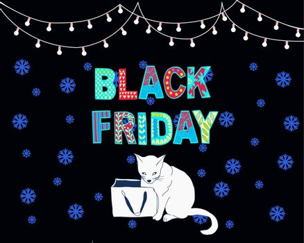 Vector illustration black friday sale banner background cute cat and paper bag. Black Friday template with hand drawn text for social media posts, banner, card design, etc.