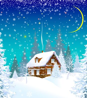House in a snowy forest, decorated with a garland. Winter Christmas night. Christmas star in the sky.