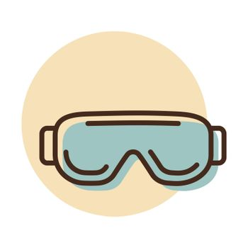 Biology goggles Eye protection vector icon. Scientific Lab glasses. Medicine sign. Graph symbol for medical web site and apps design, logo, app, UI