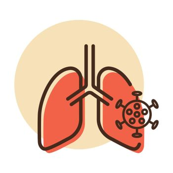 Human lungs infected by virus and bacteria vector icon. Medical sign. Coronavirus. Graph symbol for medical web site and apps design, logo, app, UI