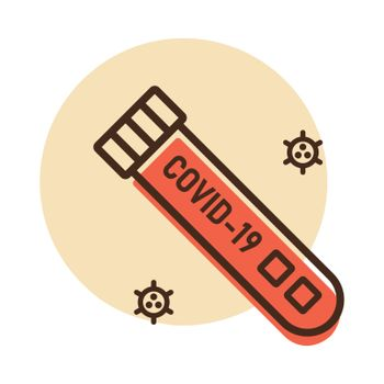 Coronavirus blood test tube vector icon. Medical sign. Graph symbol for medical web site and apps design, logo, app, UI