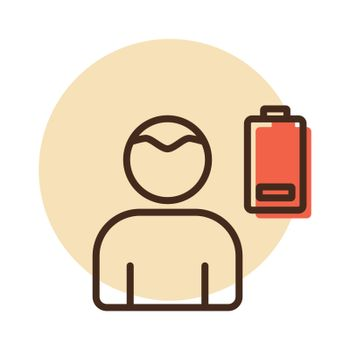 Novel Coronavirus symptoms weakness vector icon. Stress low battery. Graph symbol for medical web site and apps design, logo, app, UI