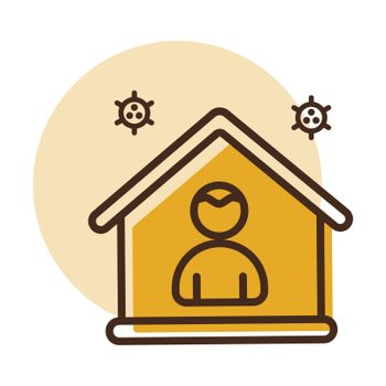 I stay at home vector icon awareness social media campaign and coronavirus prevention. Graph symbol for medical web site and apps design, logo, app