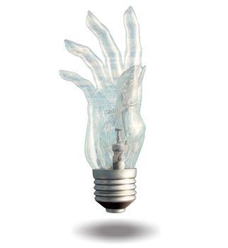 Single hand shaped light bulb. 3D rendering