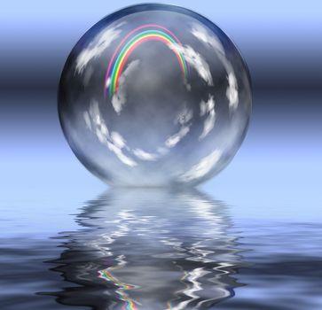 Rainbow inside crystal ball. 3D rendering