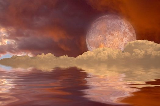 Red moon rising over surreal water world. 3D rendering