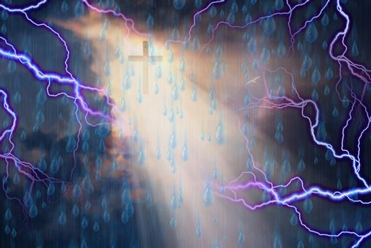 Cross bathed in Light from Sun While Storm Rages. 3D rendering