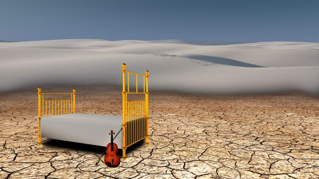 Quiet place in the desert. Violin and bed. 3D rendering