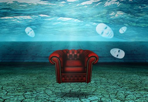 White Mask and armchair floats in desert ruins. 3D rendering