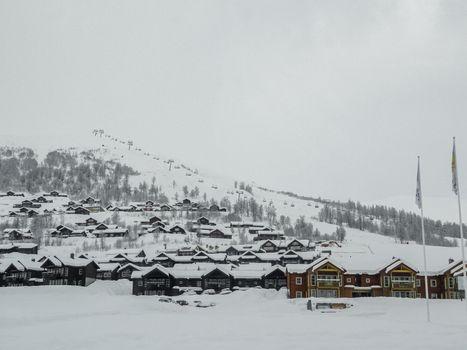 Winter ski resort in Vestland, Norway. Ski sports, hikers.