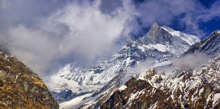Machapuchare Holy Mountain, Annapurna Conservation Area, Himalaya, Nepal