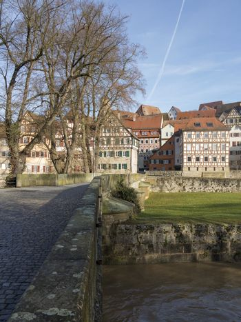 Townscape of medieval Schwaebisch Hall in Germany