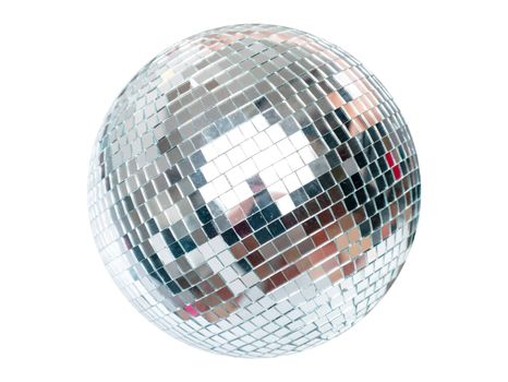 Shining Disco Ball dance music event equipment on white background