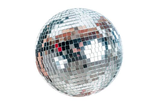 Shining Disco Ball music event equipment isolated on white background