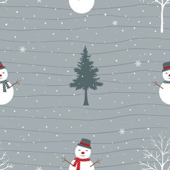 Cute snowman happy on winter seamless pattern,for decorative,fabric,textile,print or wrapping paper,vector illustration