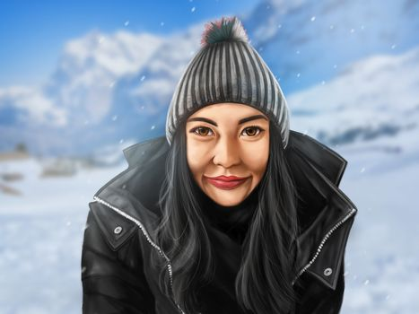 Beautiful painting of a young woman with snow backgroud, digital painting