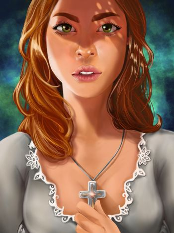 Digital painting of fantasy young princess holding a cross necklace portrait close up
