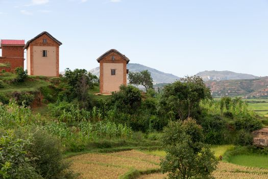 Residential houses of the local population surrounded by beautiful nature