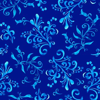 Floral seamless pattern with leaves and berries in blue color on indigo background. Hand drawing. Background for title, blog, decoration. Design for wrappers, textiles, fabrics.