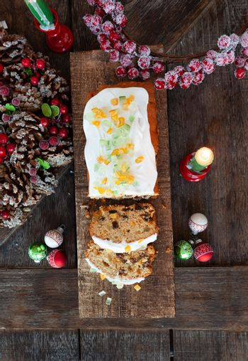 Homemade fruit loaf with frosting
