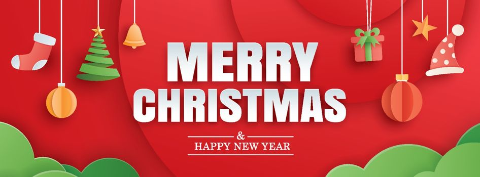 Merry christmas and happy new year red greeting card in paper ar