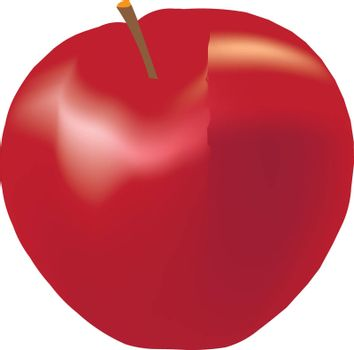 Red apple on a white background. Vector image