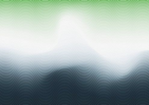 Abstract green, white and blue gradient blurred background with wave line texture. Vector illustration