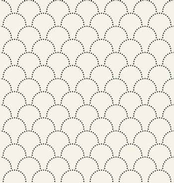 Black semicircles fish scales seamless pattern background and texture, Geometric dots curve repeating. Vector illustration