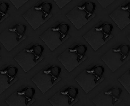 Seamless background Black shopping bags and gift boxes on black, Black Friday sale shopping concept