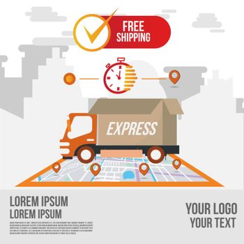 Fast delivery shipping online app by truck.Online order tracking with map.Delivery flat vector cartoon futuristic character restaurant food service.Online food order infographic.Webpage, app design.