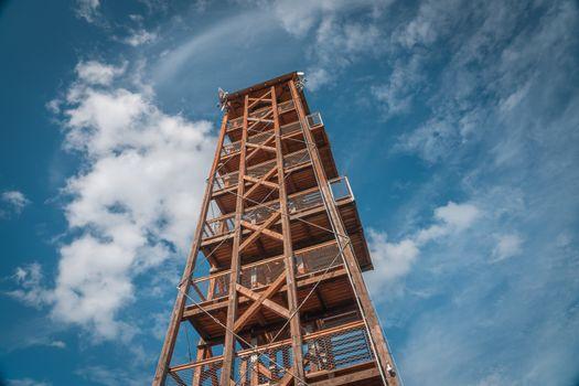 Observation deck lookout tower called Milada near Orlik dam in evening light, Pribram, Czech republic