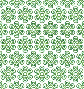 background or textile pattern of green six leaf flowers