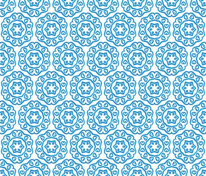 background or textile of blue hexagonal heart patterns