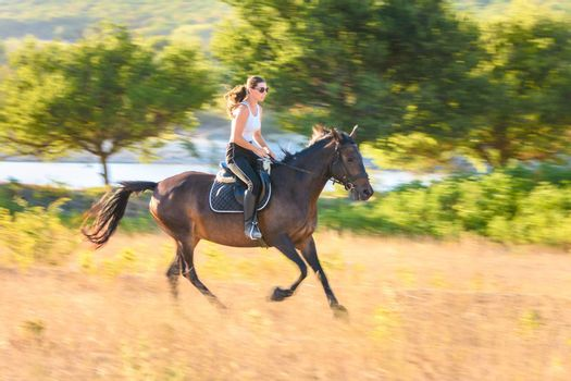 Girl rides a horse across the field