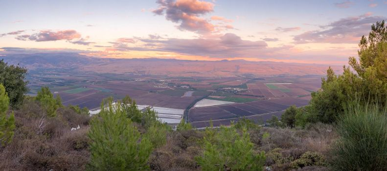 Panoramic sunset view of the Hula valley, northern Israel