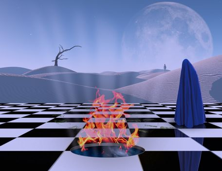 Chessboard with burning portal to another dimension. Figure of man covered by purple cloth. White sand dune, giant moon at the horizon. 3D rendering