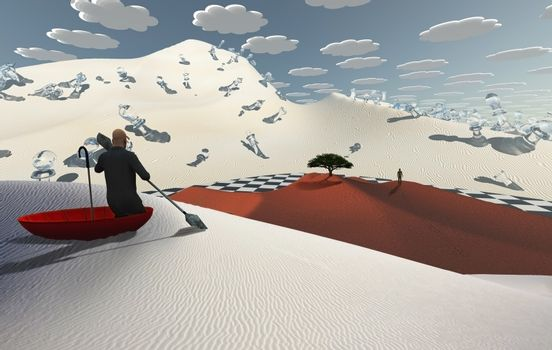 Surreal desert with chess figures. Man in red umbrella floating on white desert. Figure of man in a distance. Green tree at the horizon. 3D rendering