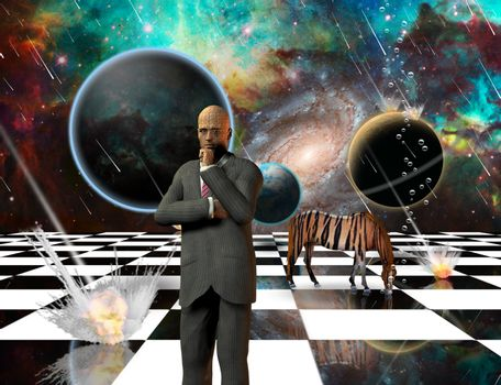 Massive meteorite - asteroid shower destroy planets. Striped horse and thinking businessman on chessboard. 3D rendering