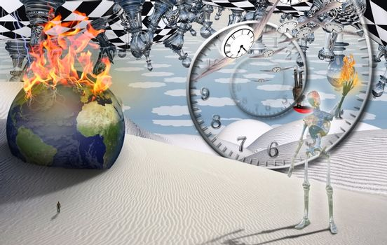 Burning globe, figure of man in a distance. Alien holds flame in his hand. Spiral of time and winged clocks represents flow of time. 3D rendering
