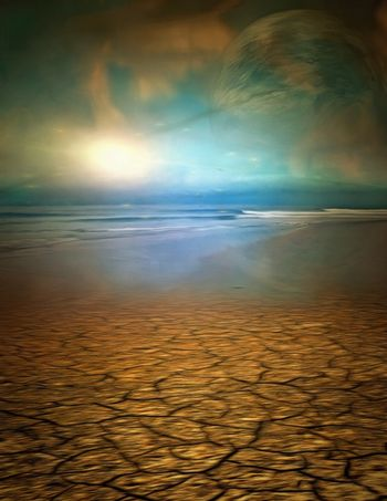 Surreal painting. Desert shore and the sea. 3D rendering