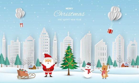 Merry Christmas and Happy new year greeting card,winter landscape with Santa Claus and friends send gift boxes by balloons,vector illustration