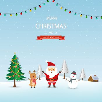 Merry Christmas and Happy new year concept,Santa Claus with friends and Christmas tree happy on winter background,vector illustration